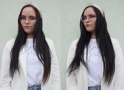 Koszulka Line Art, biała marynarka oraz jeansy | Second Hand         |          Just Look Good