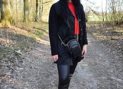 Femme Luxe - czerwona bluzka z organzy oraz legginsy z ekoskóry          |          Simply my life