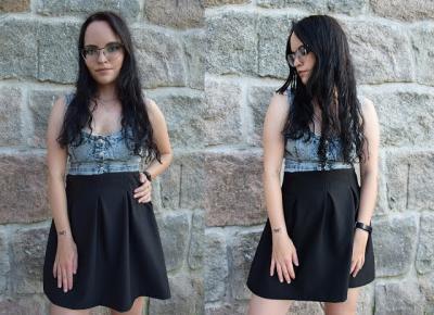 Jeansowy gorset i czarna spódnica | Stylizacja na imprezę          |          Simply my life