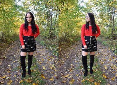 Czerwony sweter z przetarciami oraz czarna spódnica mini | Stylizacja lumpeksowa          |          Simply my life
