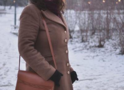 Karmelowy płaszcz zimowy - ciepły, wełniany i elegancki - | inż. mama