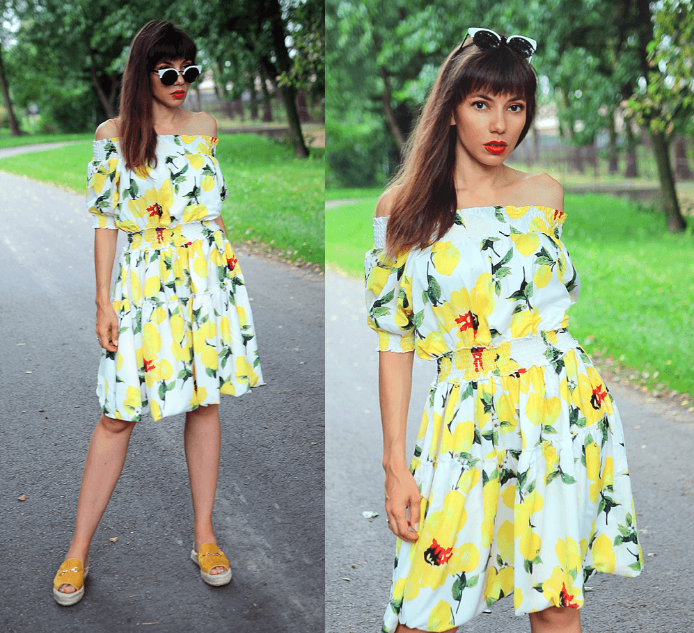 Jointy&Croissanty: off the shoulder lemon dress