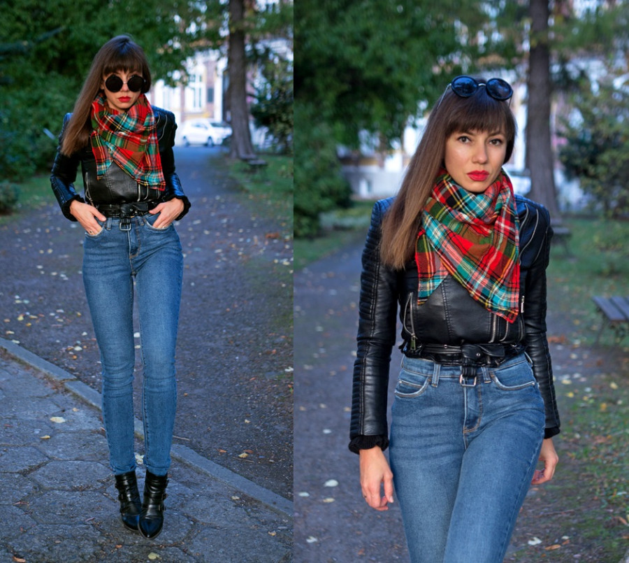 Jointy&Croissanty: blue jeans, biker jacket and plaid