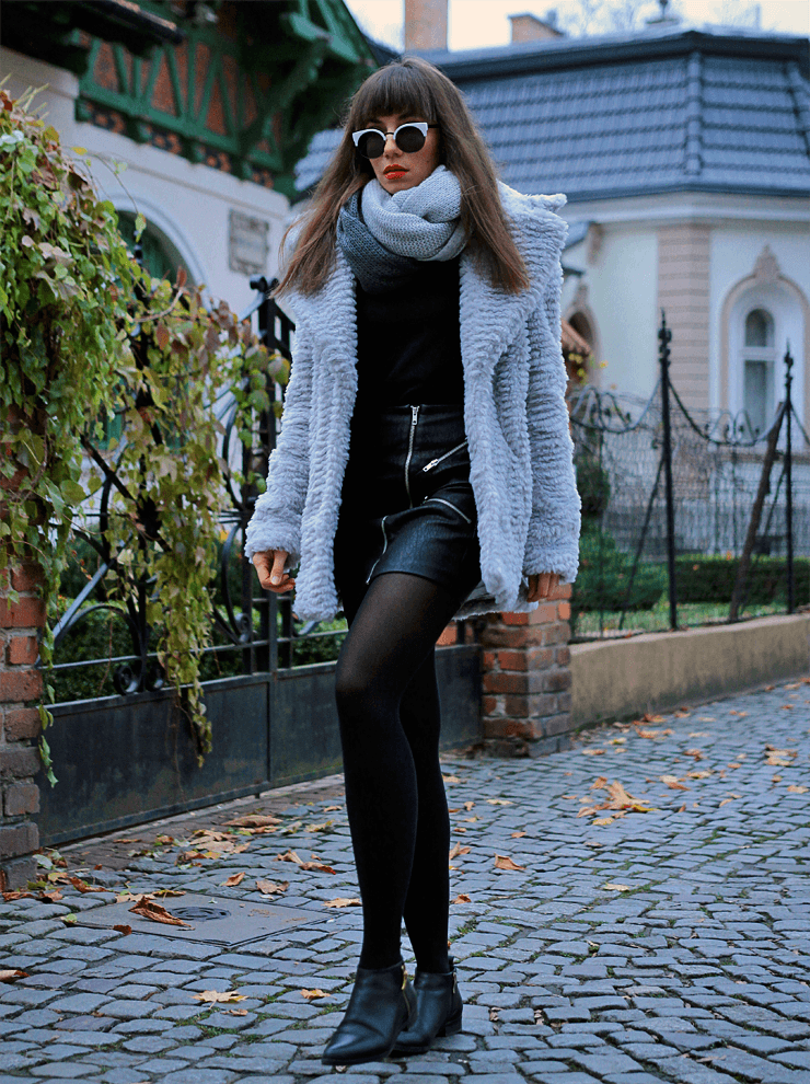 Jointy&Croissanty: grey faux fur coat
