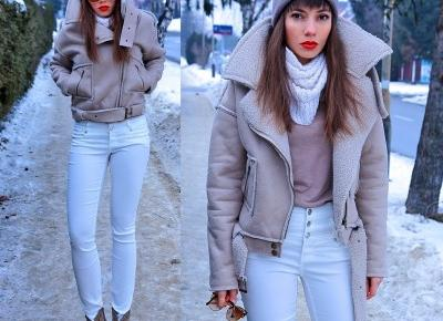 Jointy&Croissanty: faux sheepskin jacket and high waisted pants