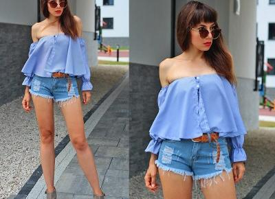 Jointy&Croissanty: blue off the shoulder shirt