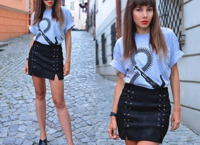 Jointy&Croissanty: black lace up skirt