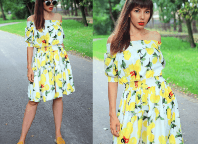 Jointy&Croissanty: off the shoulder lemon dress