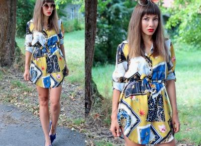 Jointy&Croissanty;: Mustard Scarf Print Shirt Dress