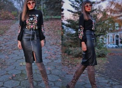 Jointy&Croissanty;: leather midi skirt