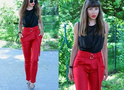 Jointy&Croissanty;: red paperbag trousers