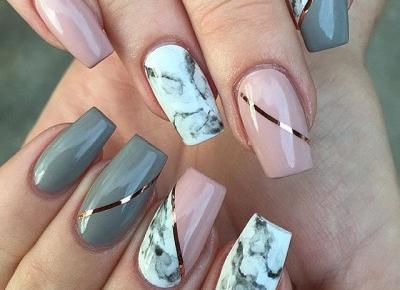 nails 💅 pink, grey, marble💅