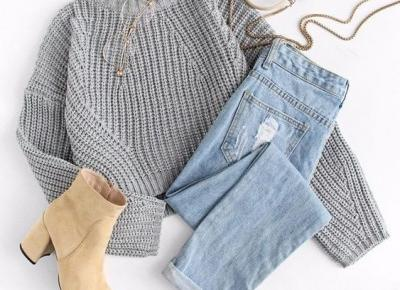 Grey sweater & jeans