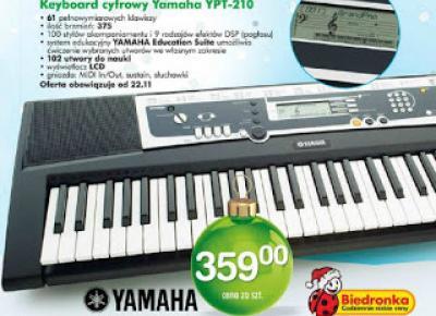 Keyboard cyfrowy Yamaha YPT-210 z Biedronki