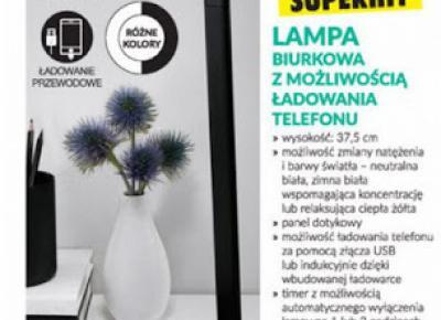 Lampa biurkowa z możliwością ładowania telefonu Smukee z Biedronki