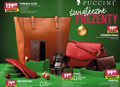 Torebka, rękawiczki, pasek, portfel Puccini z Biedronki