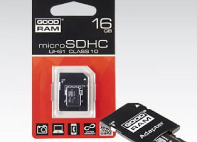 Karta Micro SD 16 GB z adapterem GOODRAM z Biedronki