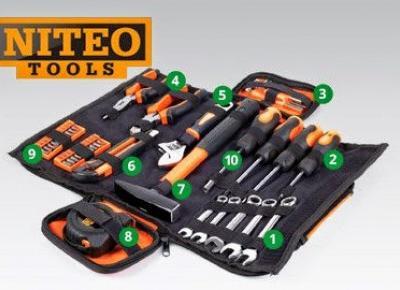 Zestaw narzędzi podstawowych w torbie z Biedronki