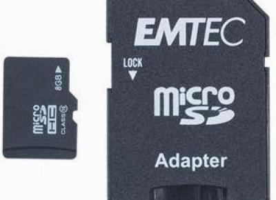 Karta 8 GB microSD z adapterem Emtec z Biedronki