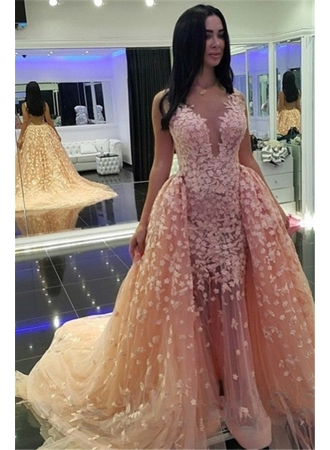 Mermaid Pink Puffy Dubai-Muslim Sexy Detachable-Train Evening Dresses_Evening Dresses 2017_Evening Dresses_Special Occasion Dresses_Buy High Quality Dresses from Dress Factory - Babyonlinedress.com