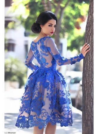 Cute Long Sleeve Royal Blue Homecoming Dress Custom Made Knee Length Plus Size Evening Dress MH040_Short Dresses/Homecoming Dresses_Wedding Dresses | Prom Dresses | Evening Formal Gowns | Suzhoudress.
