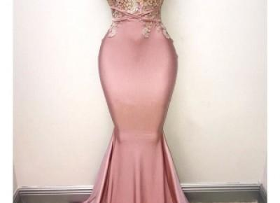 $168-Lace mermaid prom dress- Babyonlinedress.com