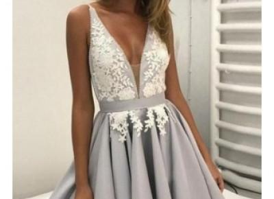 Sexy V-Neck Appliques Short Homecoming Dresses 2017 A-Line Appliques Cocktail Dress BA6972_2017 Homecoming Dresses_Wedding Dresses | Prom Dresses | Evening Formal Gowns | Suzhoudress.com