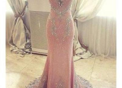 2017 Pink Mermaid Crystals Evening Dress Beading Luxurious Formal Dresses_Evening Dresses_2017 Special Occasion Dresses_Wedding Dresses | Prom Dresses | Evening Formal Gowns | Suzhoudress.com
