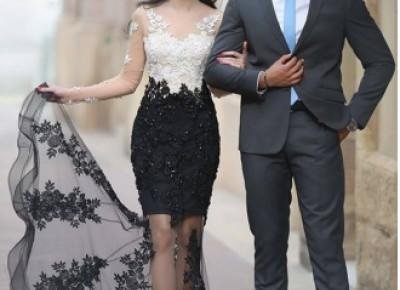 Lace-Appliques Sheer Mermaid Long-Sleeves Beading White-Black Prom Dresses_Prom Dresses_Special Occasion Dresses_Buy High Quality Dresses from Dress Factory - Babyonlinedress.com