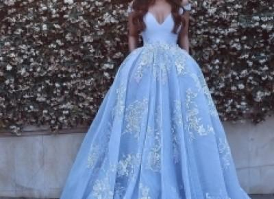 Lace Baby-Blue Elegant Off-the-shoulder Floor-Length Evening Dress_Evening Dresses 2017_Evening Dresses_Special Occasion Dresses_Buy High Quality Dresses from Dress Factory - Babyonlinedress.com