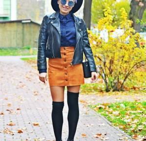 Granatowa koszula i ruda spódnica | Karyn - Blog modowy o modzie i z pasją do mody