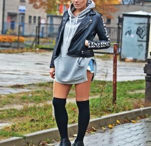 Szara bluza i zakolanówki | Karyn - Blog modowy o modzie i z pasją do mody