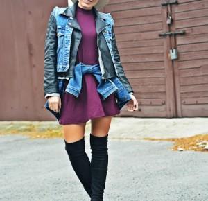 Jeans, skóra i bordowa sukienka | Karyn - Blog modowy o modzie i z pasją do mody