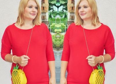 Czerwona sukienka w stylizacji ciążowej
