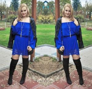 Kobaltowa sukienka i długie kozaki