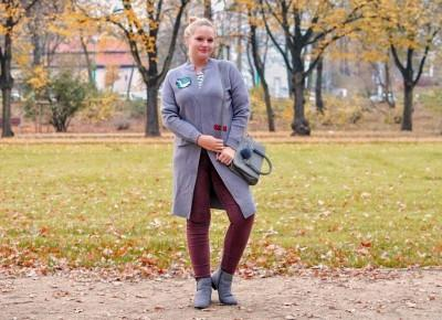 Jesienny sweter - długi i z naszywkami   Kasia Koniakowska Blog