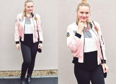 Różowa kurtka z naszywkami