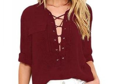 Chicloth Burgundy Long Sleeve Lace-up Top