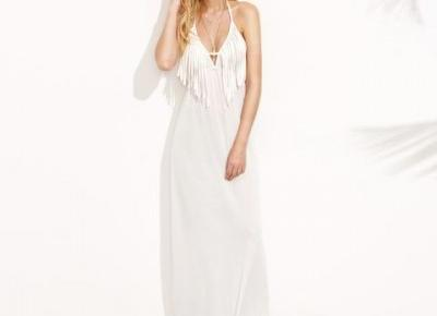 Chicloth Tassel White Maxi Dress