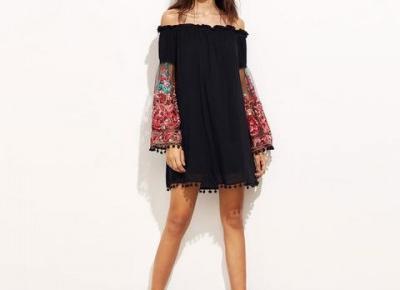 Chicloth Off the shoulder Black Tassel Dress