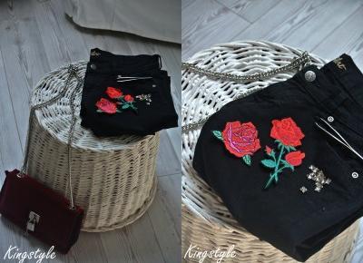 87ღ. Black Shorts With Vintage Red Roses Stripes