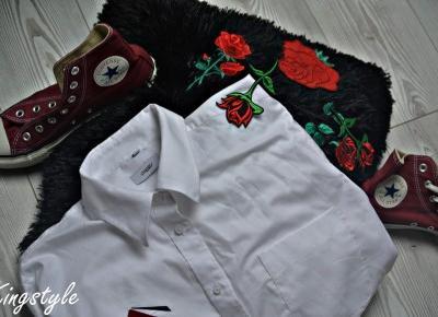89ღ. Decorate Flowers On White Casual Shirt To Set With Shorts