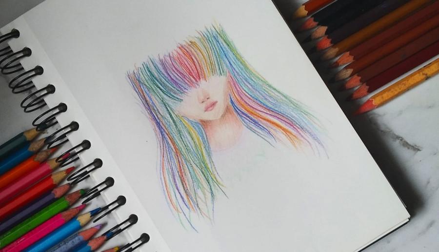 Rainbow girl art