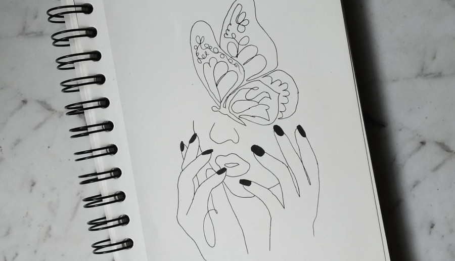 Black nais & butterfly face lineart