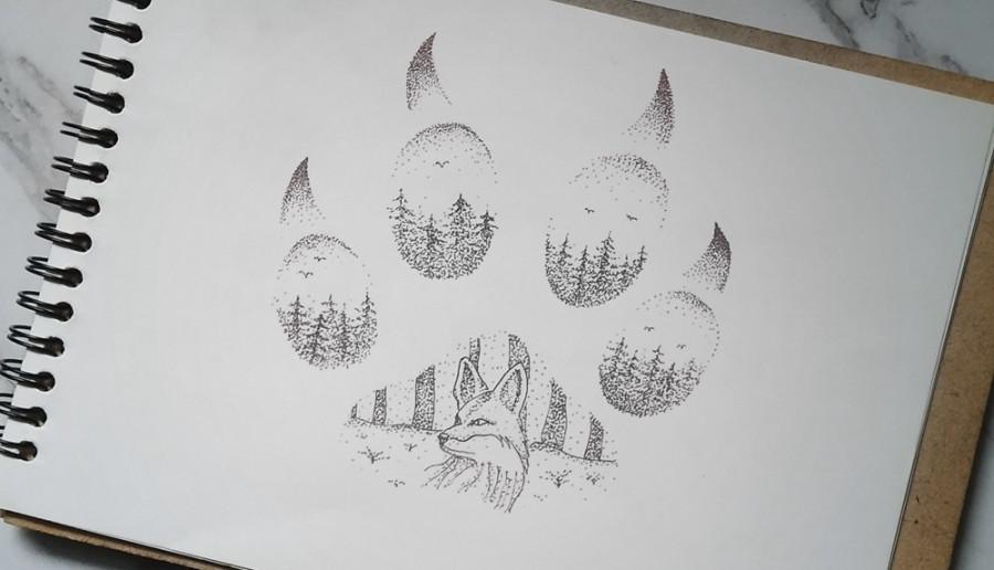 forest dotwork art