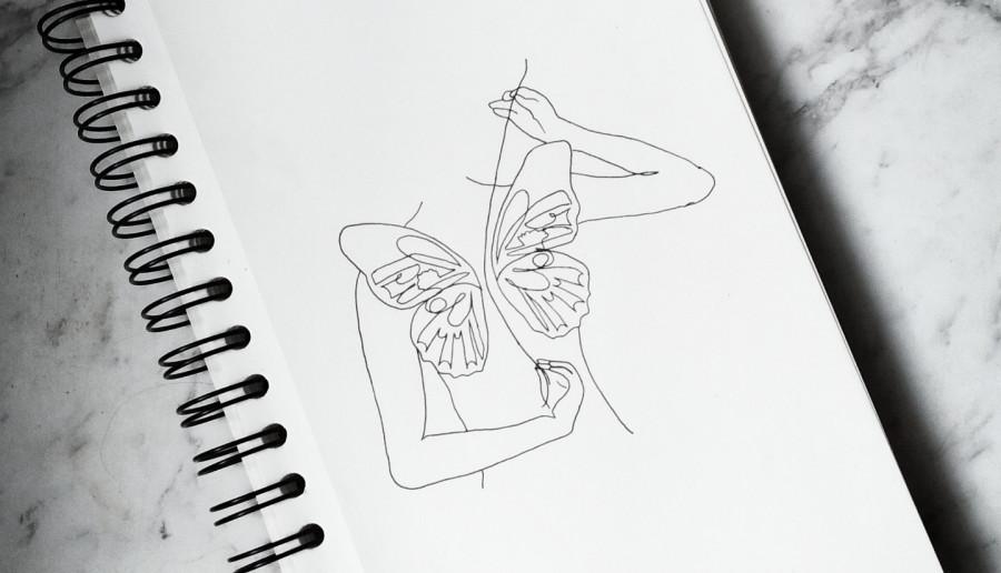 WomenButterfly lineart