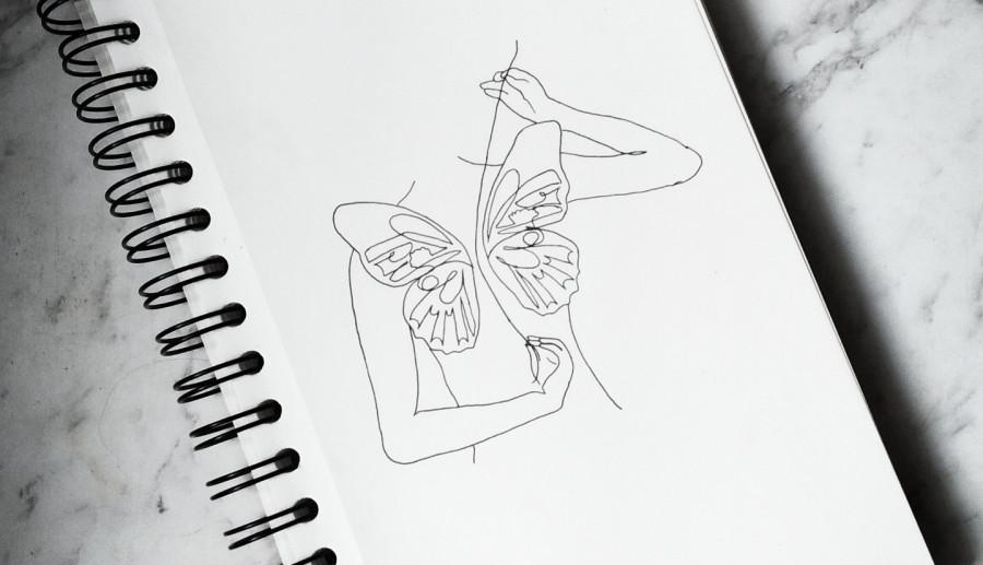 Butterfly & women lineart