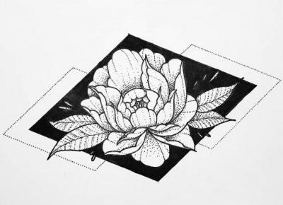 ✨ Geometric flower✨ | Dotwork art