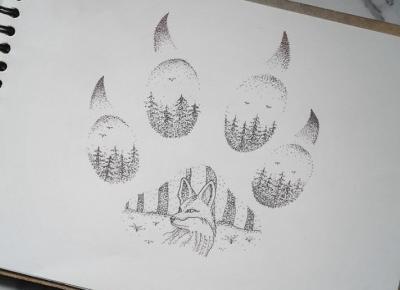Forest foxy dotwork art