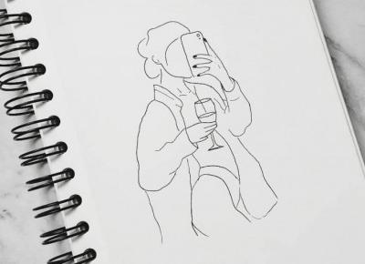 kobieta z winem - lineart